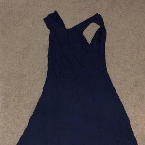 Blue lace high neck dress